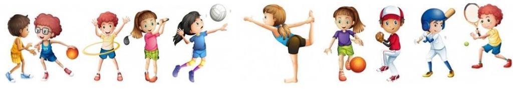 各种运动练习和游戏例如篮球,曲棍球,足球,棒球运动